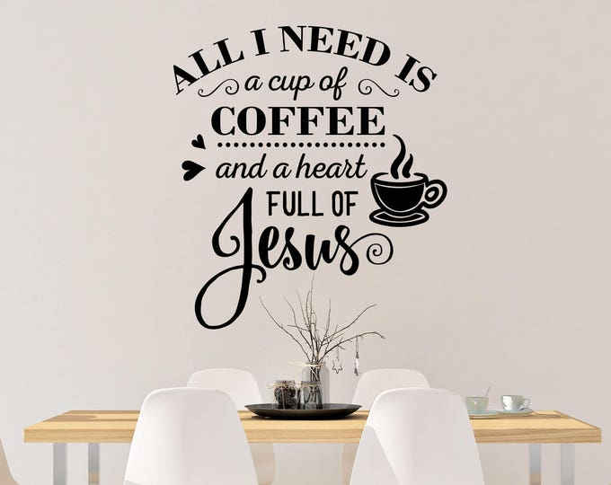 Jesus and Coffee Vinyl Wall Decal