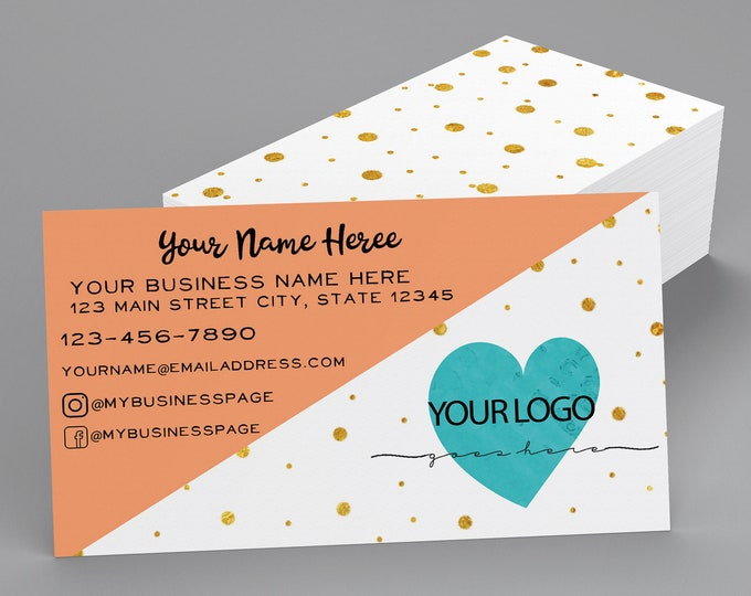 Pink and Gold Dot Business Cards