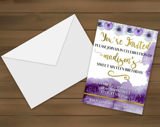 Violet Floral Birthday Invitations