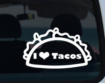 I Love Tacos Vinyl Decal Sticker - Car Decal - Taco Car Decal - I Love Tacos Decal - Taco Sticker - Vinyl Decal - Decal - Tacos - Vinyl