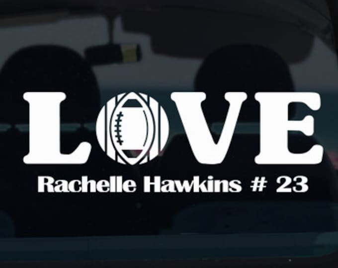 Football Love with Name Vinyl Decal