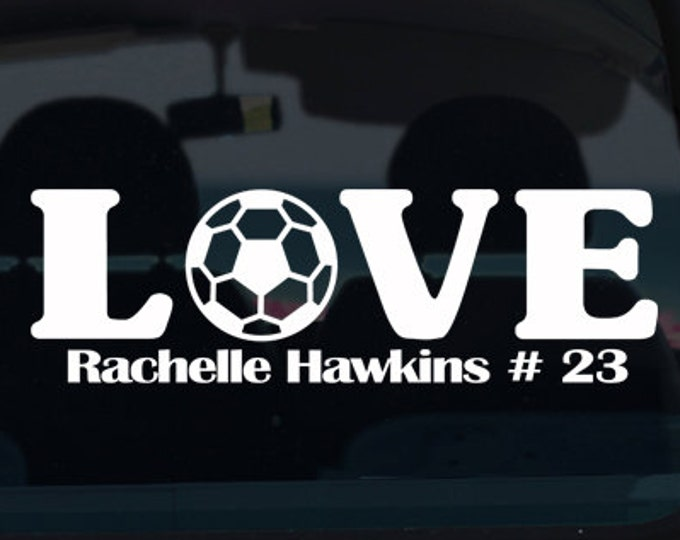 Soccer Love with Name Vinyl Window Decal - Car Sticker - Custom Sports Decal - Soccer - Soccer Decal - Football - Sports Decal - Vinyl Decal
