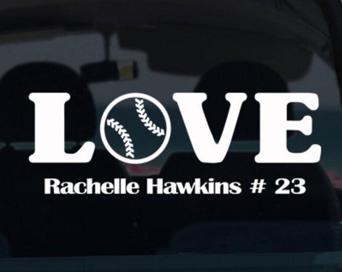Baseball Love with Name Vinyl Decal