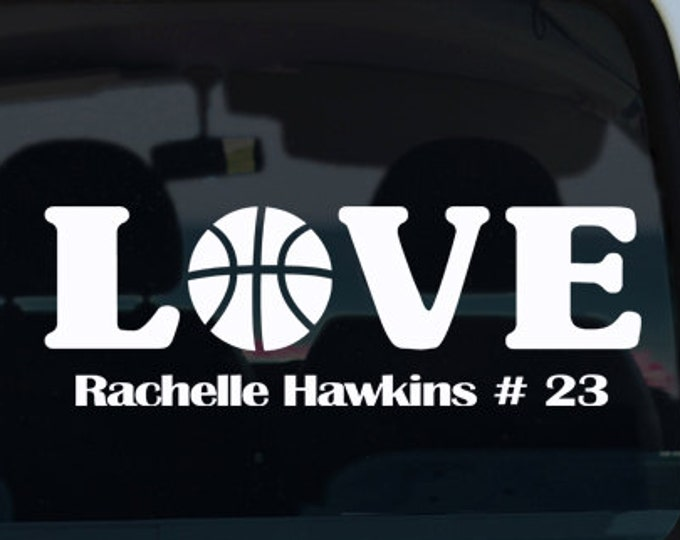 Basketball Love with Name Vinyl Window Decal - Car Sticker - Custom Sports Decal - Basketball Decal - Basketball - Car Decal - Vinyl Decal
