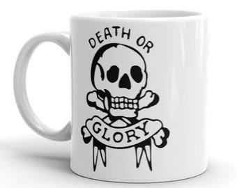 Tête de mort tatouage Mug - Mug tatouage mort ou gloire Mug - Mug de tête de mort - une tasse de café - tasse à café - café - Mug en céramique - - tête de mort coupe
