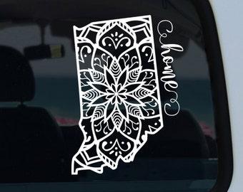Indiana State Mandala Decal