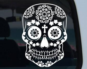 Floral Sugar Skull Vinyl Decal