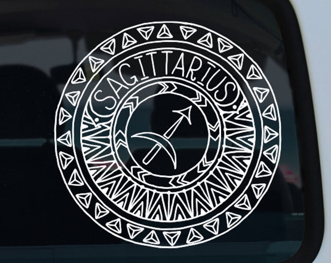 Sagittarius Decal - Zodiac Sticker - Astrological Sign - Zodiac - Sagittarius - Car Decal - Decal - Vinyl Decal - Mandala - Vinyl