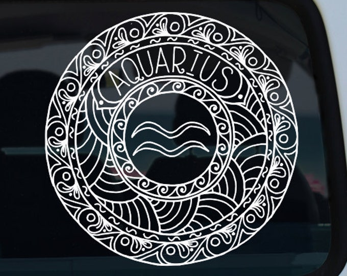 Aquarius Decal - Zodiac Sticker - Astrological Sign - Zodiac Decal - Aquarius - Aquarius Mandala - Mandala - Decal - Car Decal - Vinyl Decal