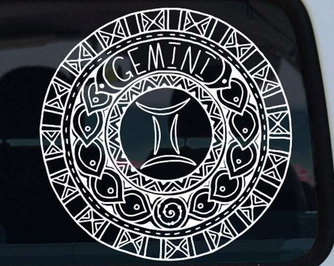 Gemini Decal - Zodiac Sticker - Astrological Sign - Gemini - Zodiac Decal - Zodiac - Mandala - Zodiac Mandala - Mandala Decal - Car Decal