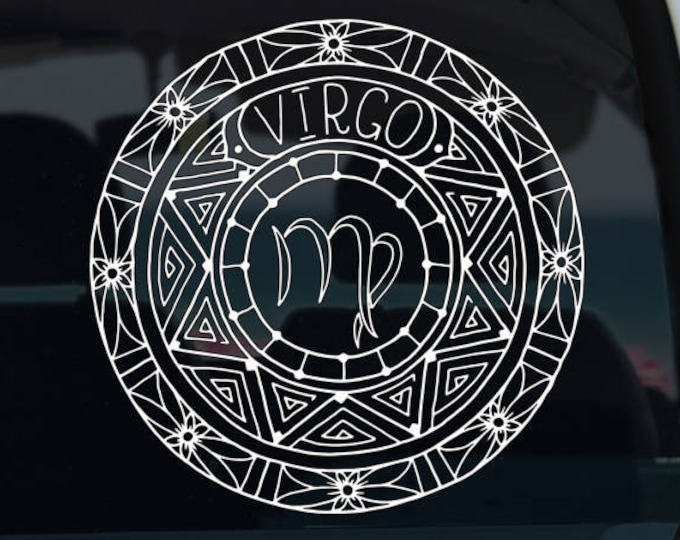 Virgo Decal - Zodiac Sticker - Astrological Sign - Zodiac Decal - Virgo Zodiac - Car Decal - Decal - Vinyl Decal - Mandala - Vinyl