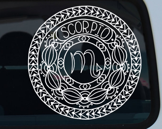 Scorpio Decal - Zodiac Sticker - Astrological Sign - Car Decal - Zodiac - Zodiac Decal - Scorpio - Vinyl - Vinyl Decal - Decal - Mandala