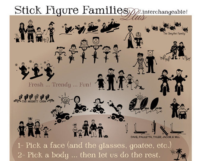 Stick Figure Family Vinyl Decals