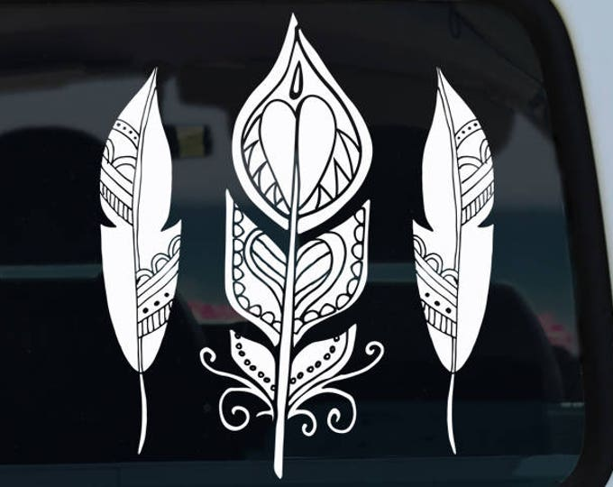 Three Feathers Bohemian Decal