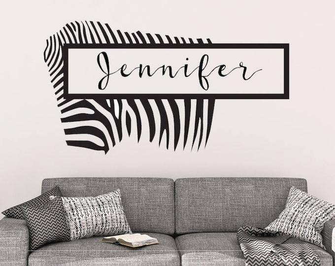 Custom Zebra Name Vinyl Wall Decal