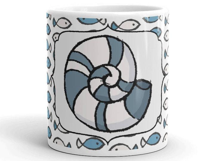 Sea Shell Mug - Coffee - Coffee Mug - Coffee Cup - Ceramic Mug - Nautical Mug - Fish Mug - Fish Cup - Shell Cup
