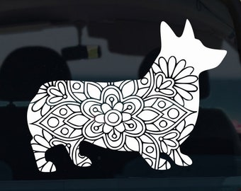 Corgi Mandala Vinyl Decal