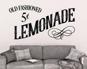 Old Fashioned Lemonade - Wall Decal - Lemonade Wall Decal - Kitchen Decor - Kitchen Decals - Lemonade Decal - Lemonade Wall Decor - Wall Art