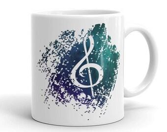 Music Note Mug - Ceramic Mug - Coffee Mug - Music Notes - Music Note Cup - Mugs - Cups - Coffee Cup - Coffee - Glass - Dishes