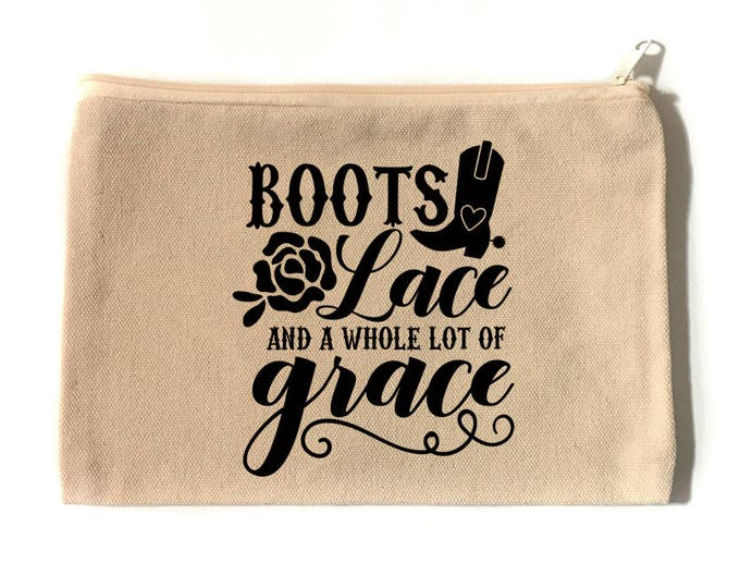 Boots and Lace Make Up Bag - Cotton Canvas Zipper Bag - Zipper Bag - Make Up Bag - Cosmetic Bag - Boots Lace and Grace - Make Up Pouch