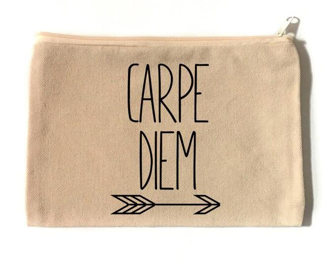 Carpe Diem Make Up Bag - Cotton Canvas Zipper Bag - Zipper Bag - Make Up Bag - Cosmetic Bag - Carpe Diem - Make Up Pouch
