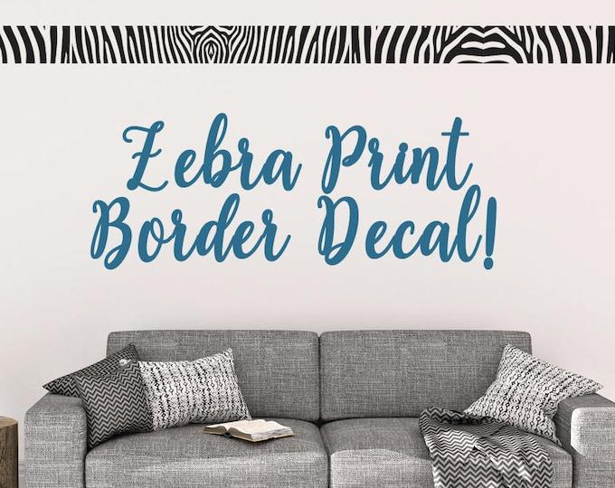 Zebra Print Border Vinyl Wall Decal