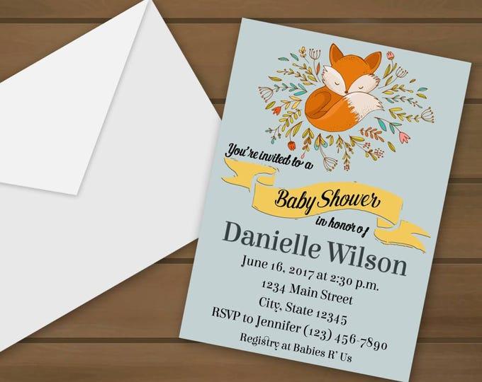 Fox Baby Shower Invitations - Baby Shower - Shower Invitations - Fox Shower Invite - Fox Invitations - Fox - Fox Baby Shower