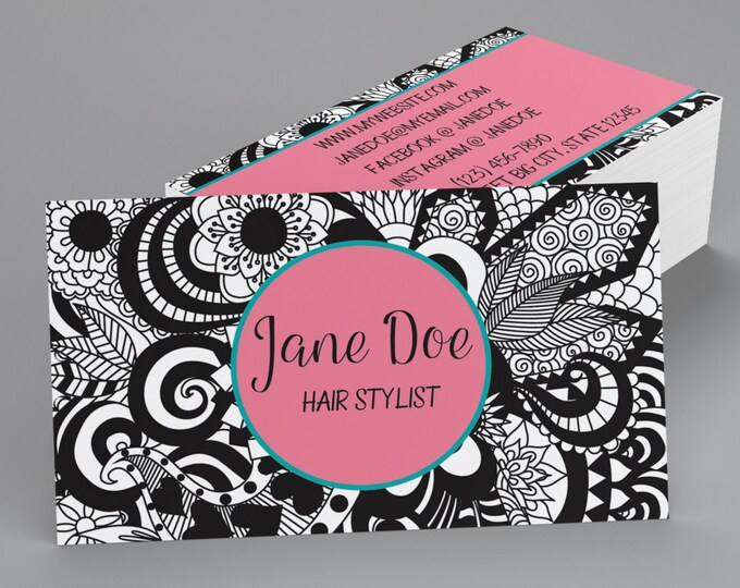 Custom Professional Business Cards - Zentangle Business Cards