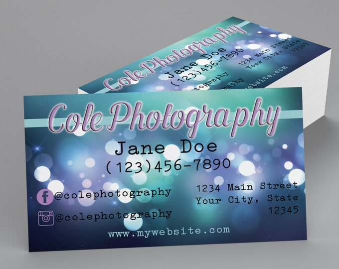 Custom Professional Business Cards - Blue Sparkle