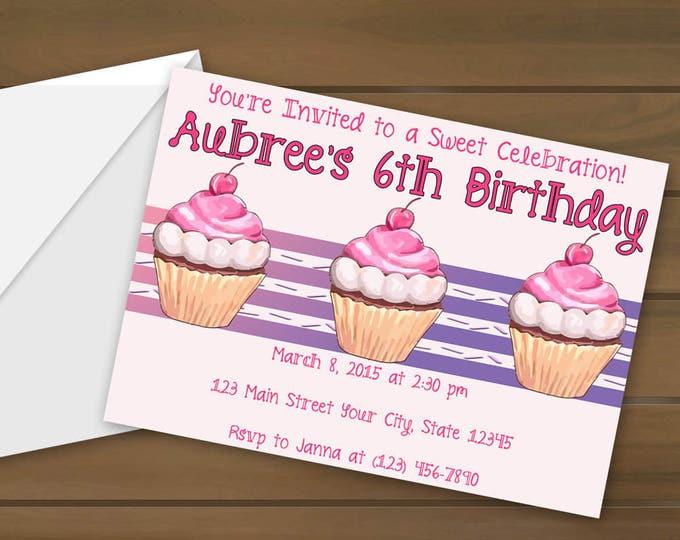 Cupcake Birthday Invitations - Cupcake Invitations - Birthday Party - Cupcake Party Invite - Girls Birthday Party - Cupcake Invite