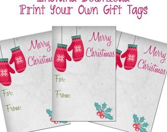 Printable Mitten Christmas Gift Tags