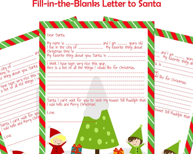 Printable Letter to Santa Instant Download Fill-in-the-Blanks