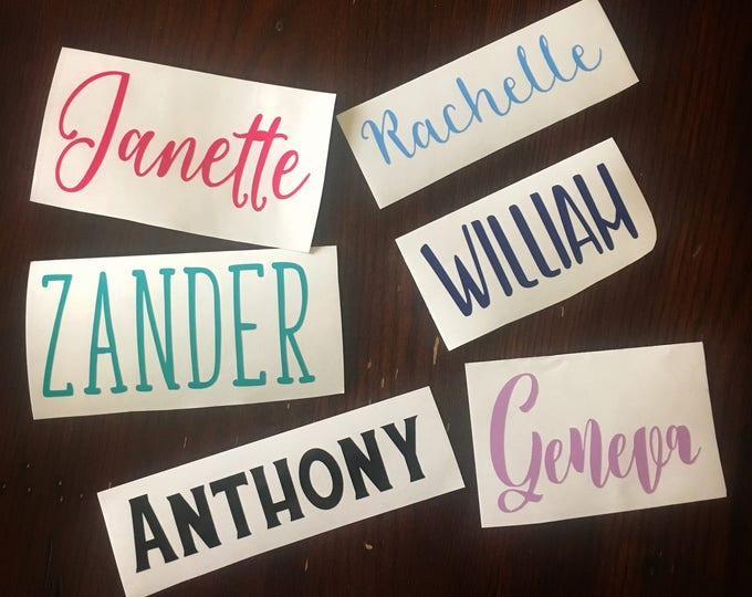 Custom Text Vinyl Decal, Choose Your Own Text