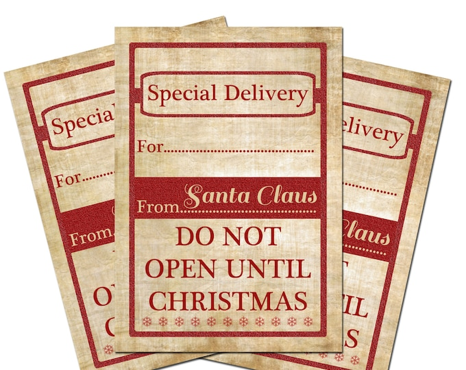 Christmas Printable Gift Tags Special Delivery Instant Download