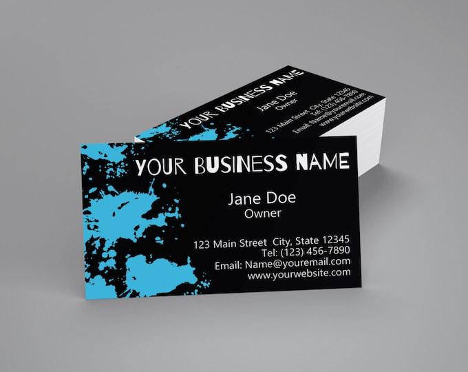 Printed Business Cards Blue Splatter