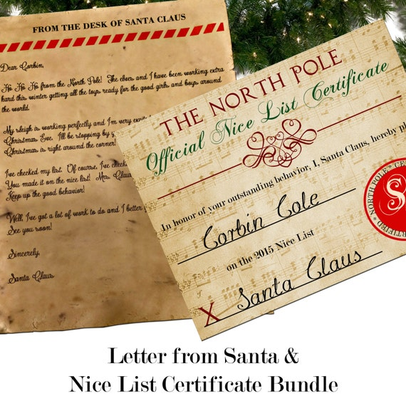 Santa letter with envelope nice list certificate bundle spiritdancerdesigns Image collections