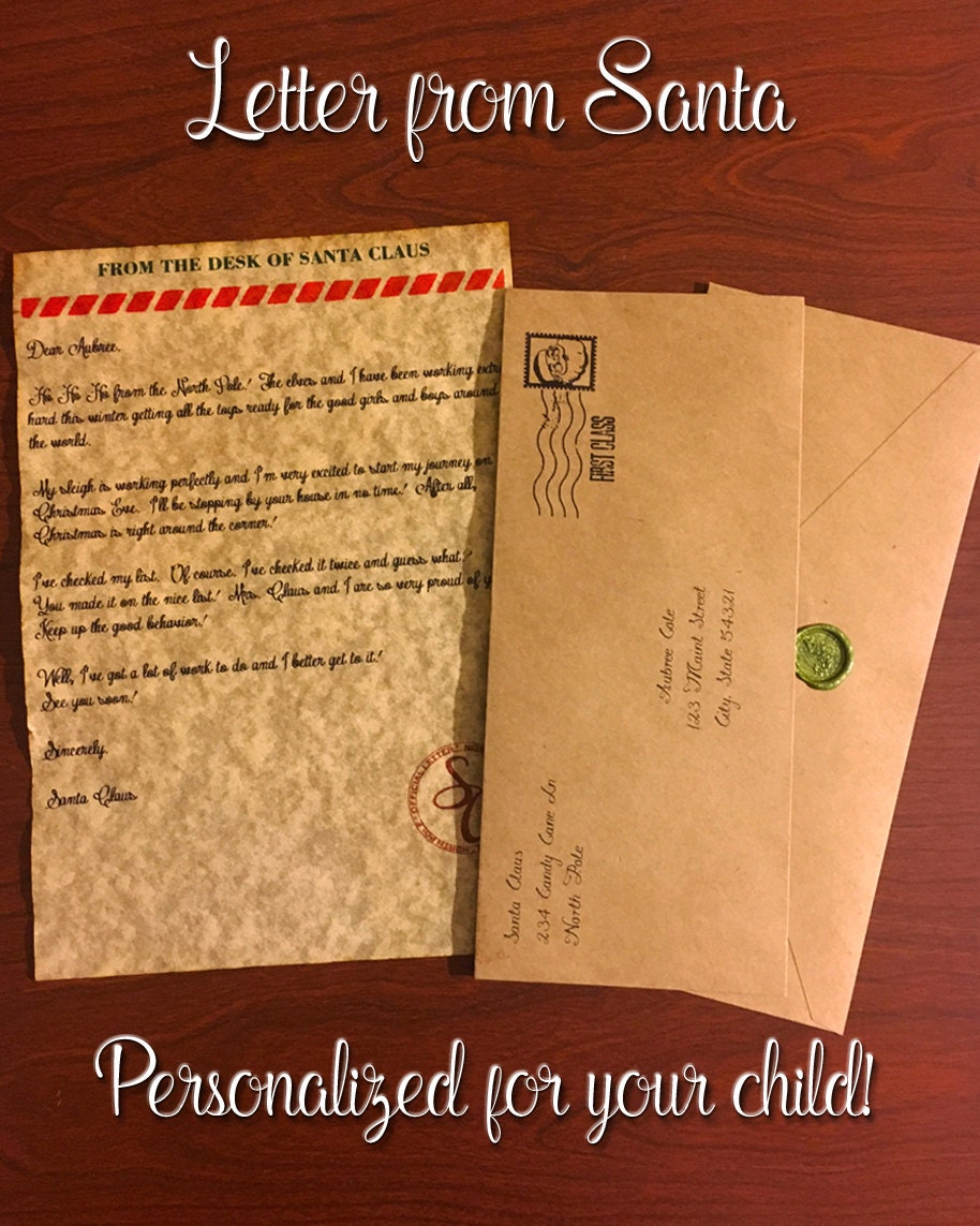 Letter from santa with envelope personalized spiritdancerdesigns Image collections