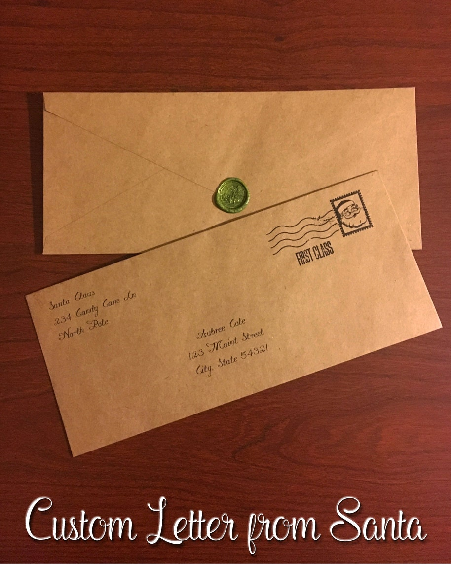 personalized letter from santa with envelope