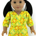 18 Inch Girl Doll Clothing - Spring Summer - Yellow Orange Lime Geometric Design Wrap Romper to fit 18-in Girl Dolls