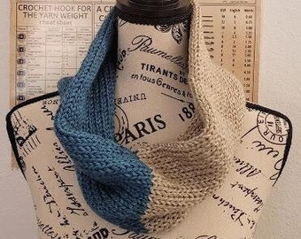Cowl- Heather Teal and Oatmeal- Knitted