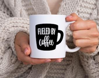 Fueled by Coffee Mug - coffee, humor, cute, java
