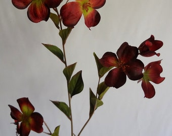 Dogwood silk flowers etsy 36 dogwood spray burgundy pack of 12 mightylinksfo