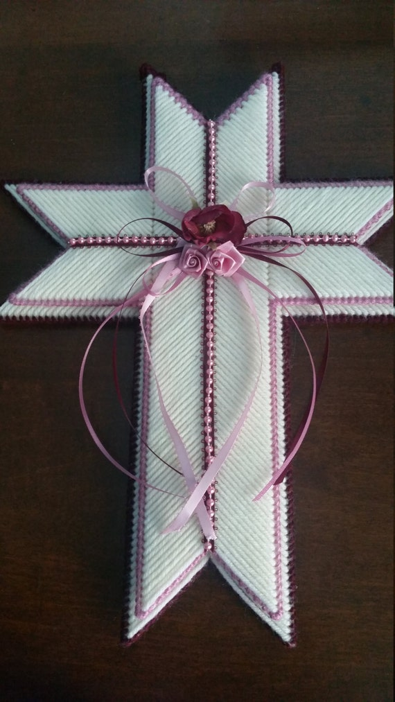 Items similar to Cross Plastic Canvas with Ribbon and