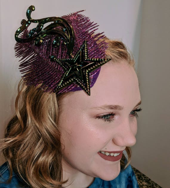 Shooting Star Fascinator with Purple Feathers and Glitter  eff66d59003