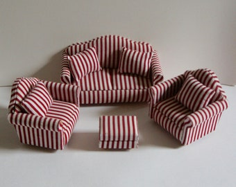 Red striped sofa | Etsy