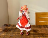 Vintage, Souvenir, Doll, In, Yugoslavian, Folk, European, Colourful, Costume, Figure, with Leather Boots, Collectible, Scale Model, Figurine