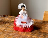 Beautiful, Vintage, 1 12th Scale, Dolls House, Picardie, French, Souvenir, Doll, In, Red and White Lace, Folk, European, Costume, Bonnet