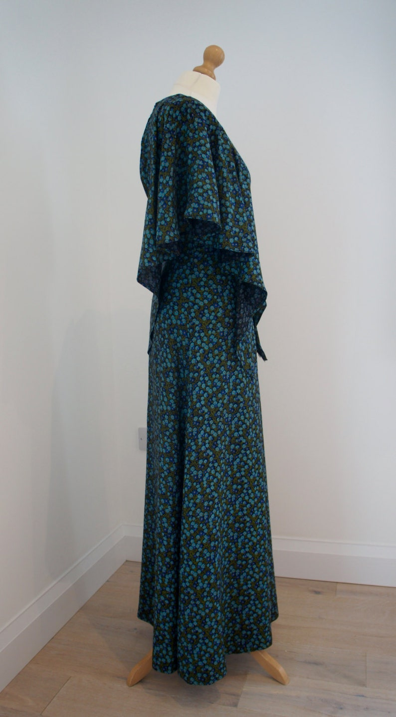 Hipster Wife Maxi Dress 1970s US 4 Size UK 8 Retro Costume Gift With Beautiful Vintage Style Sleeves Handmade Cape Green