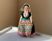 Beautiful, Vintage, 1960s, Lenovo, Torino, Riviera Adriatica, Italy, Souvenir, Fabric, Doll, In, Colourful Floral, Folk, European, Costume