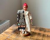 Vintage, 1950s, Moroccan, Market Seller, Souvenir, Doll, In, Folk, Men s, Costume, Male, Figure, Collectible, Scale Model, Figurine, Gift